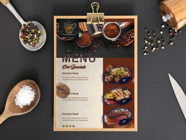 Meat Cafe Food Menu Design Template