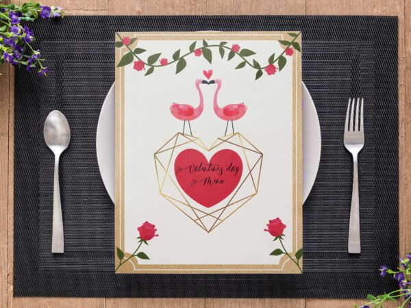 Modern Valentine Menu Design Template