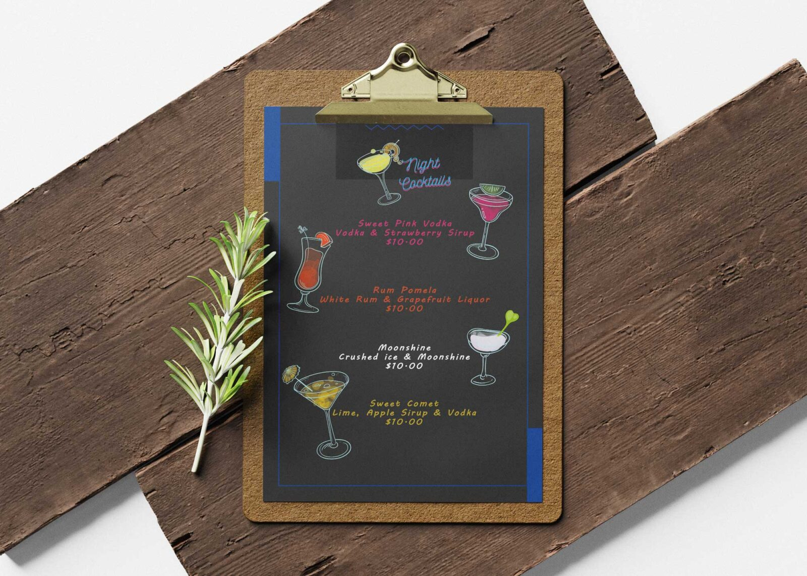 Night Cocktail Party Menu Design Template