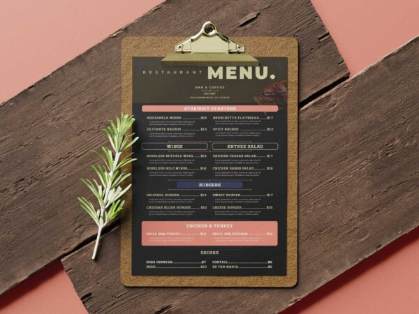 Old Vintage Menu Design Template