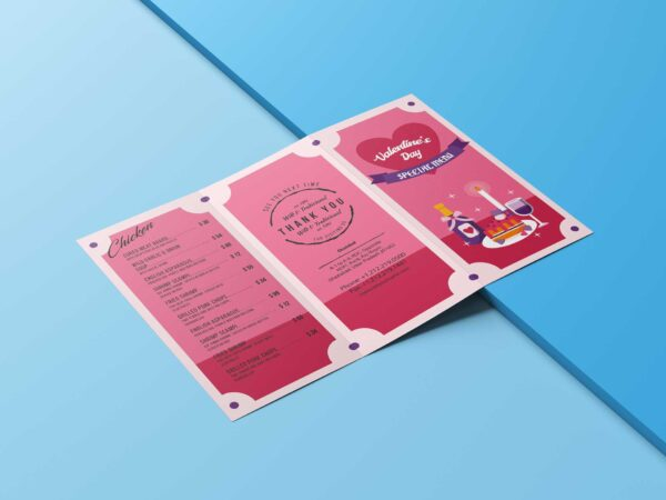 Real Love Valentine Party Menu Design Template