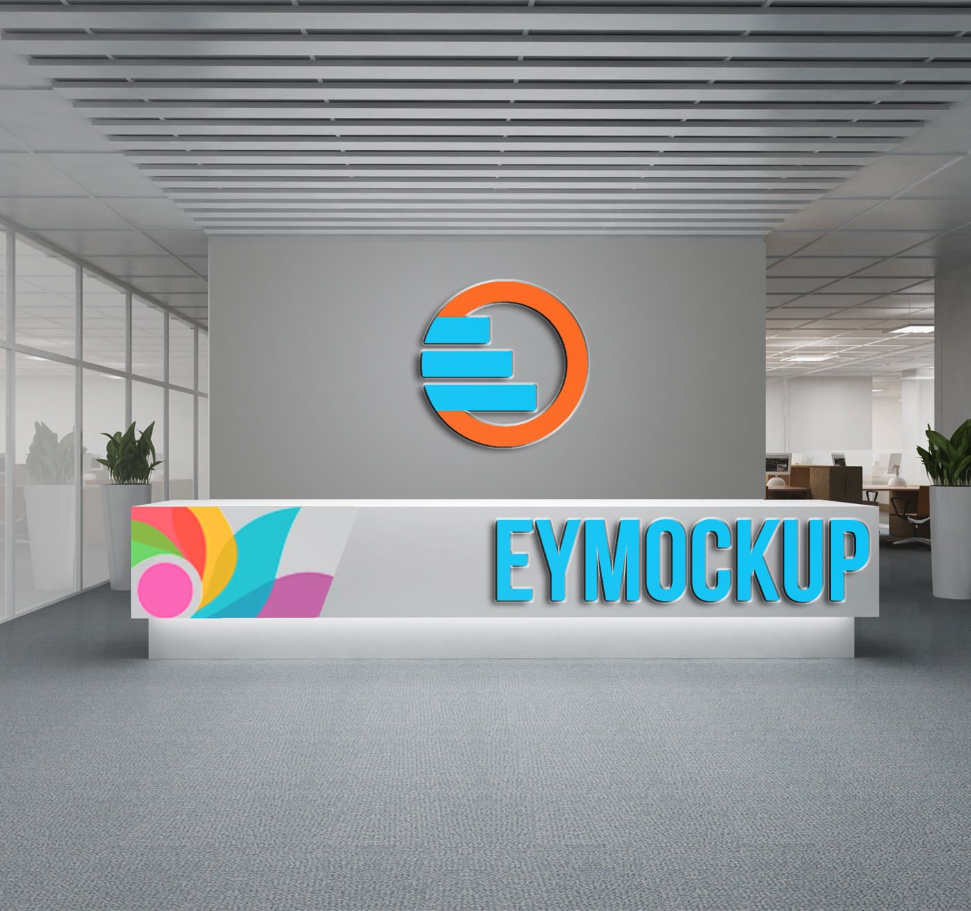 Company Reception Logo Mockup