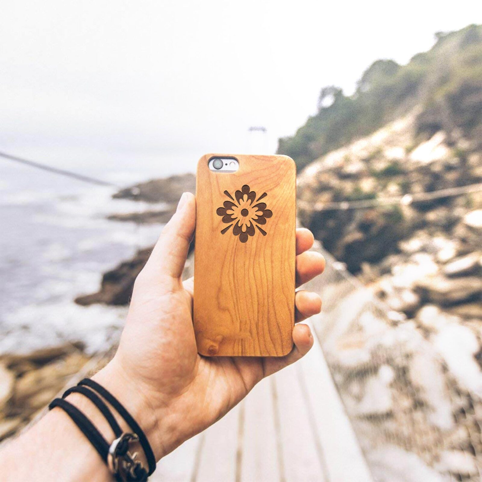 Wooden Texture Mobile Cover Mockup