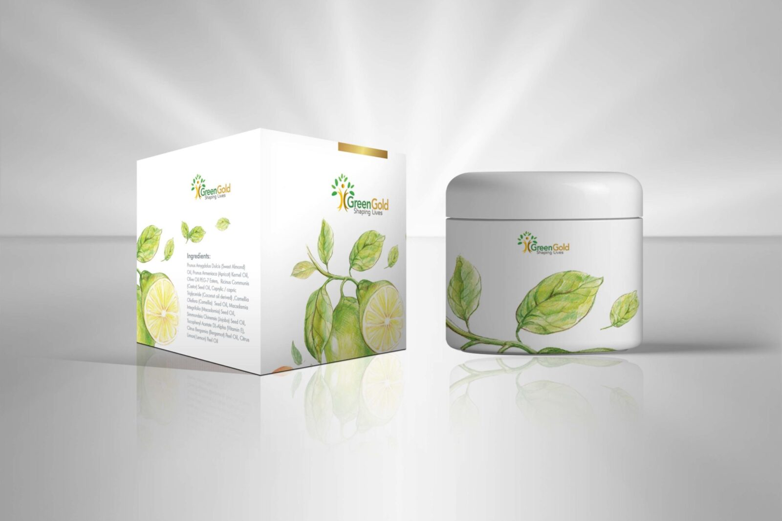 GreenGold Cosmetic Bottle Packaging Mockup