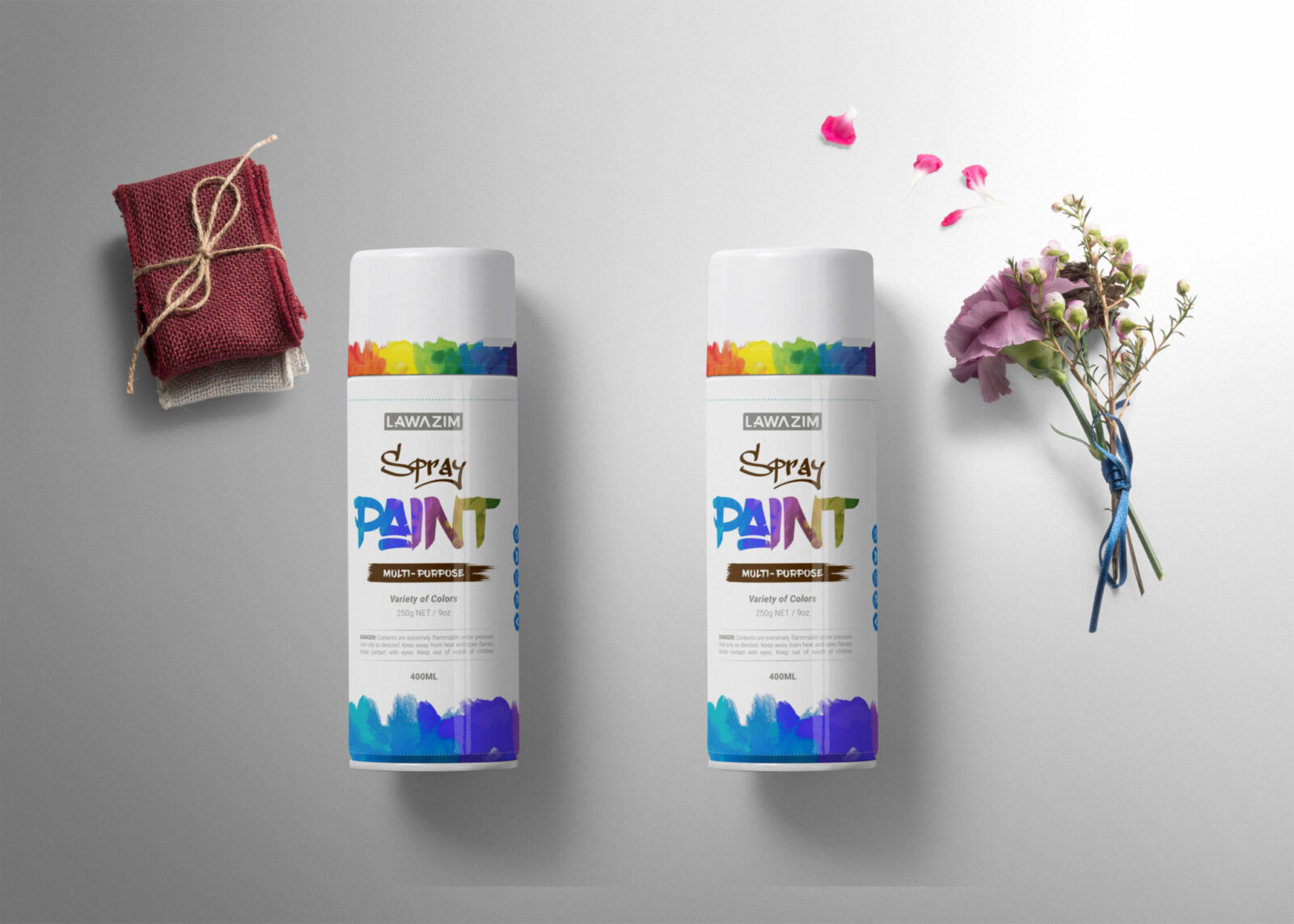 Paint Spray Can Bottle Label Mockup