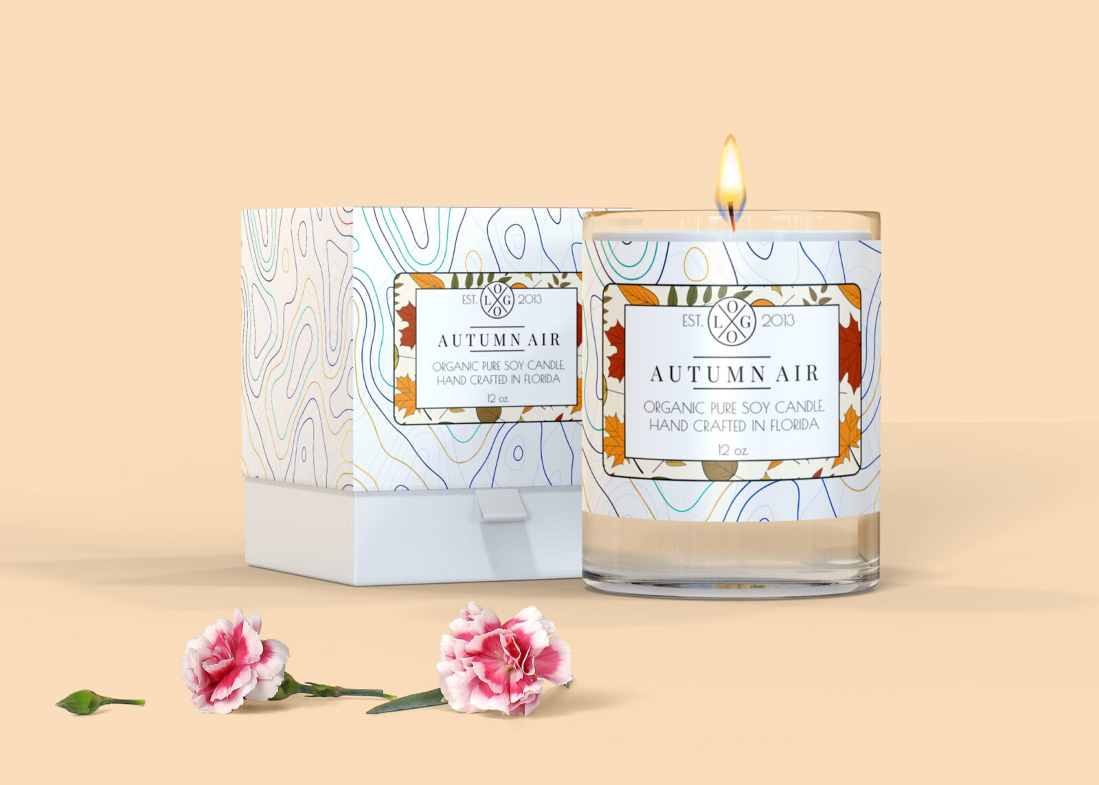 Autumn Air Candle Label Mockup