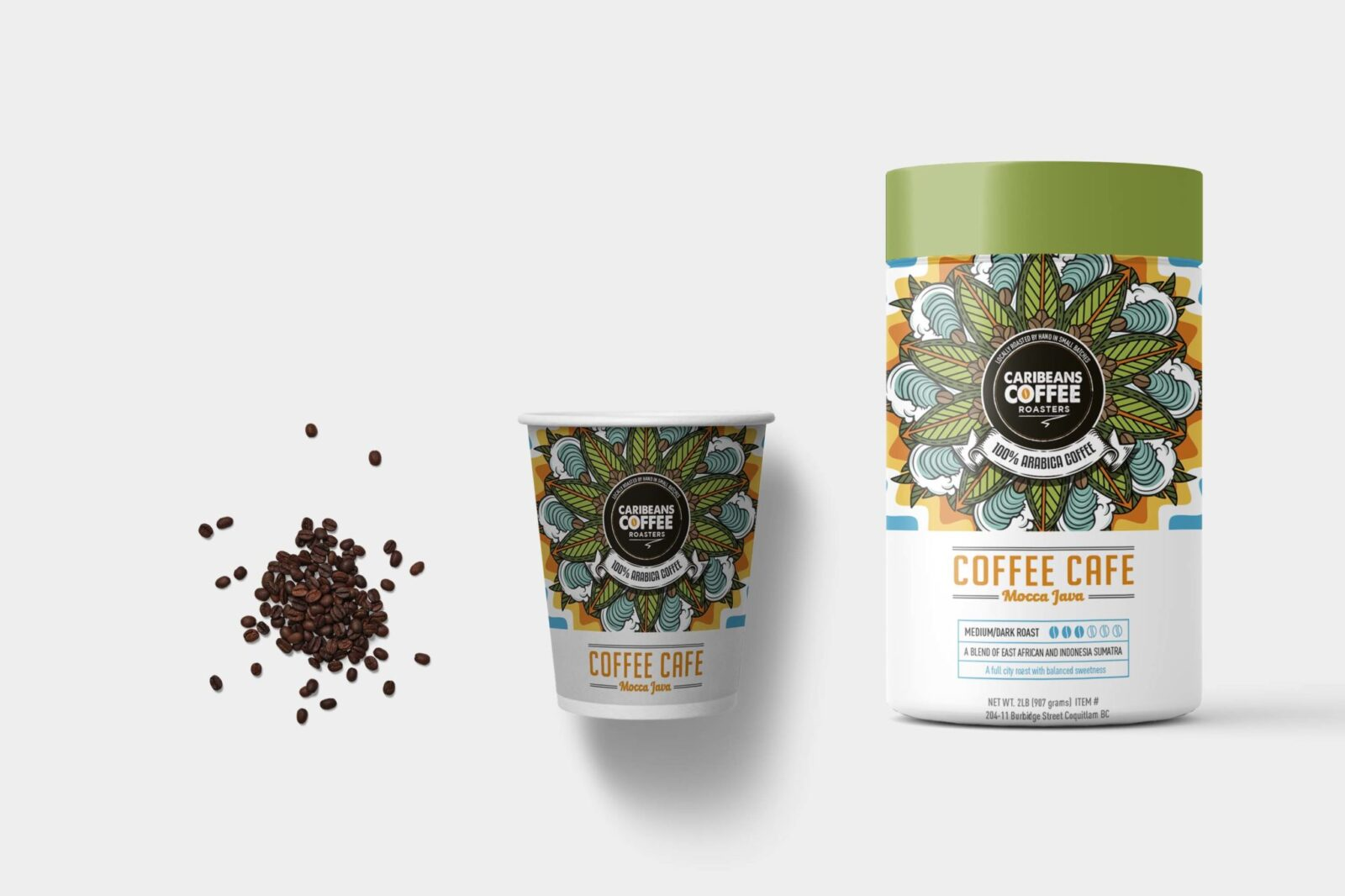 Best Coffee Beans Bottle Label Mockup