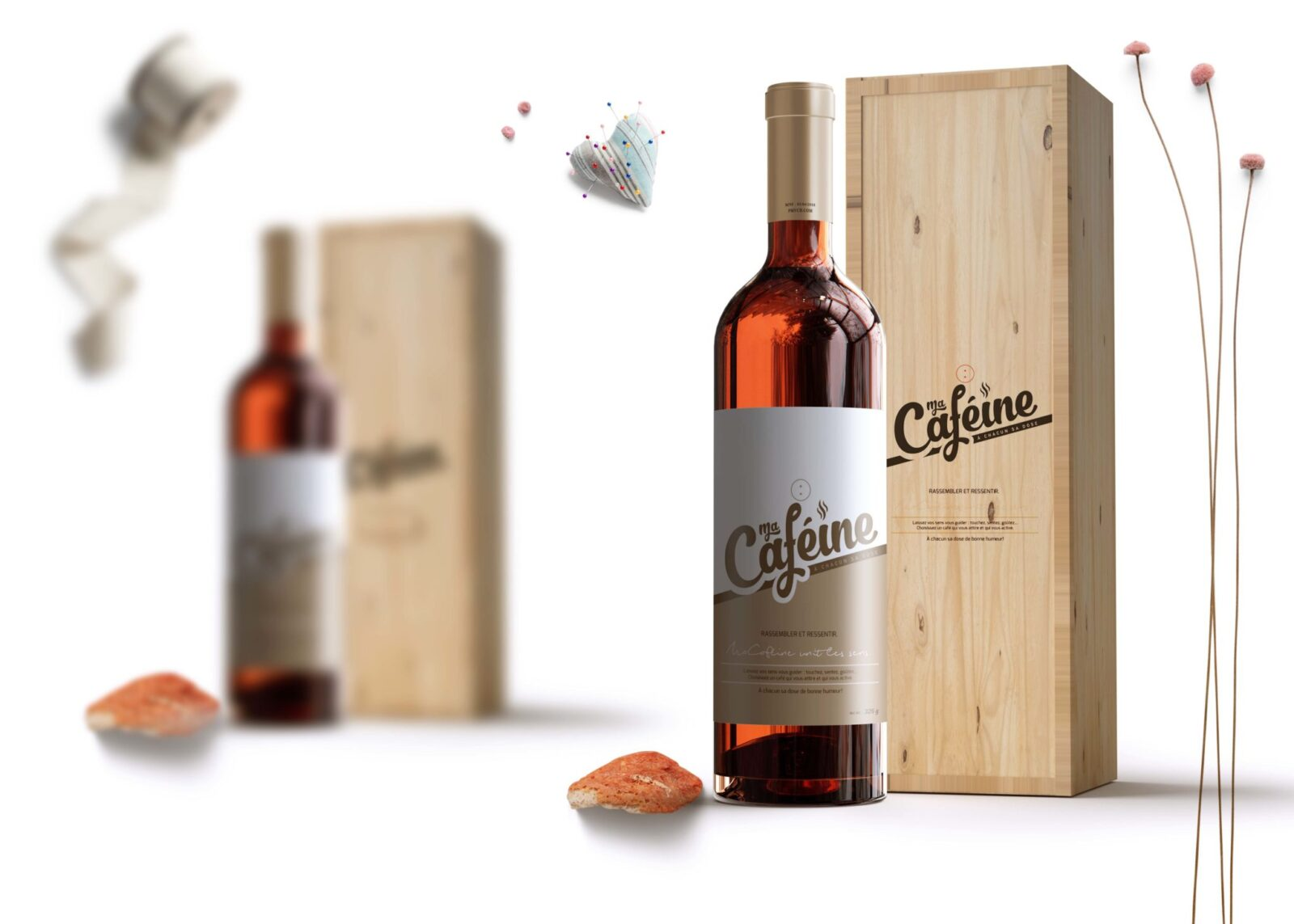 Premium Wine Bottle Label PSD Mockup