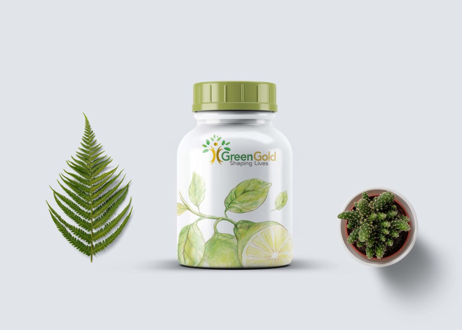 Greengold Pill Bottle Label Mockup
