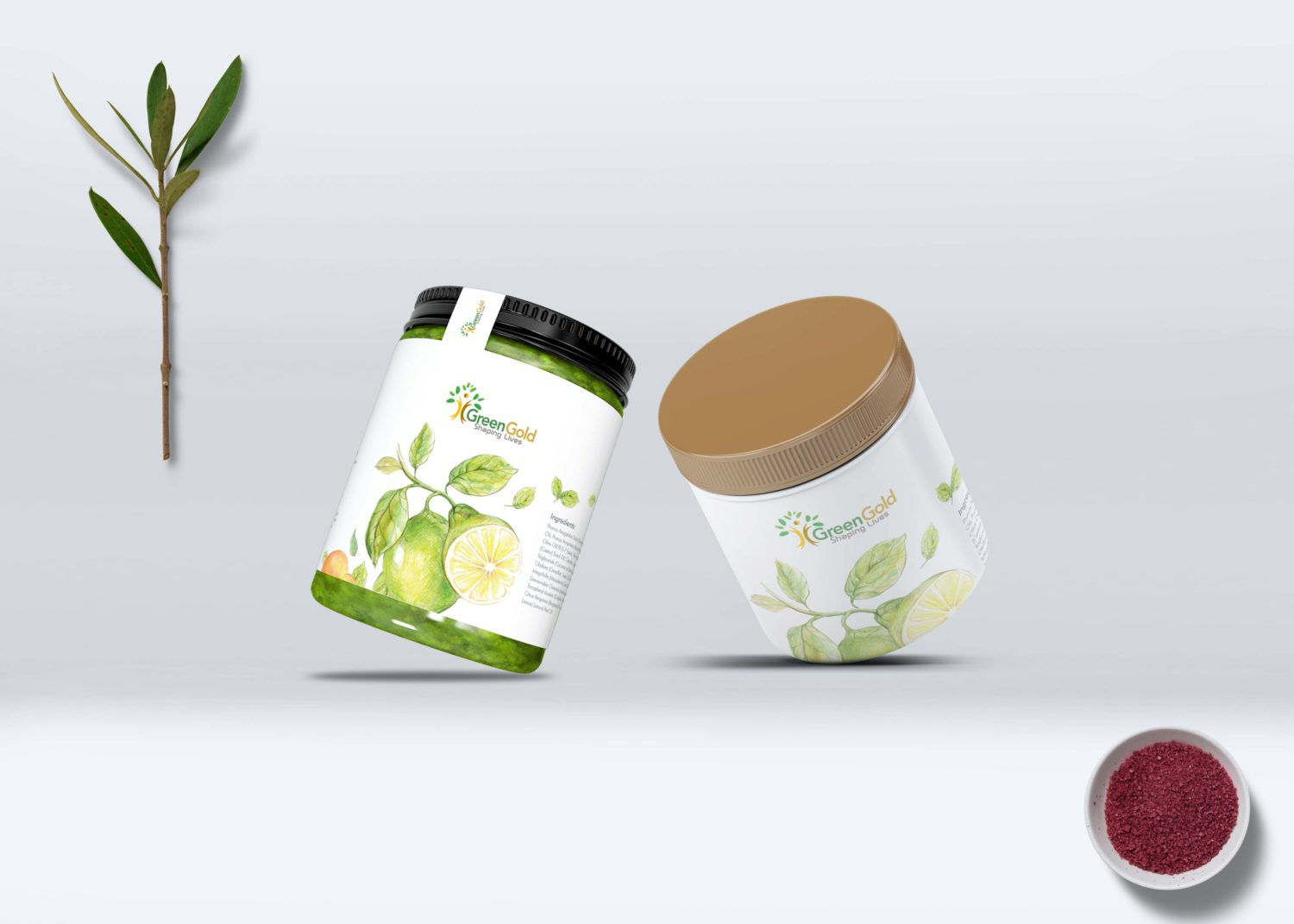 Green Gold Jar Bottle Mockup
