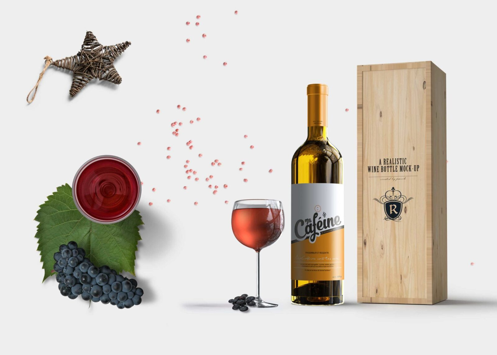 Cafeine Wine Bottle Mockup