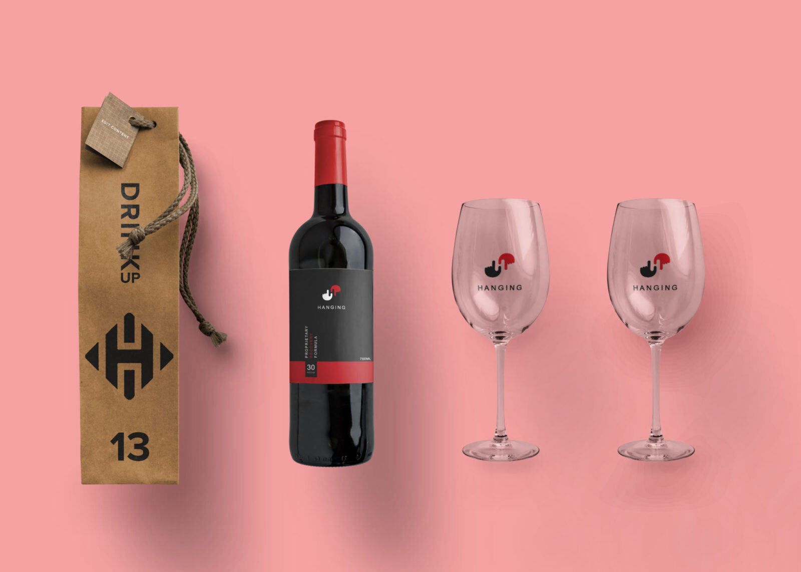 Prime Hanging Wine Bottle Label Mockup