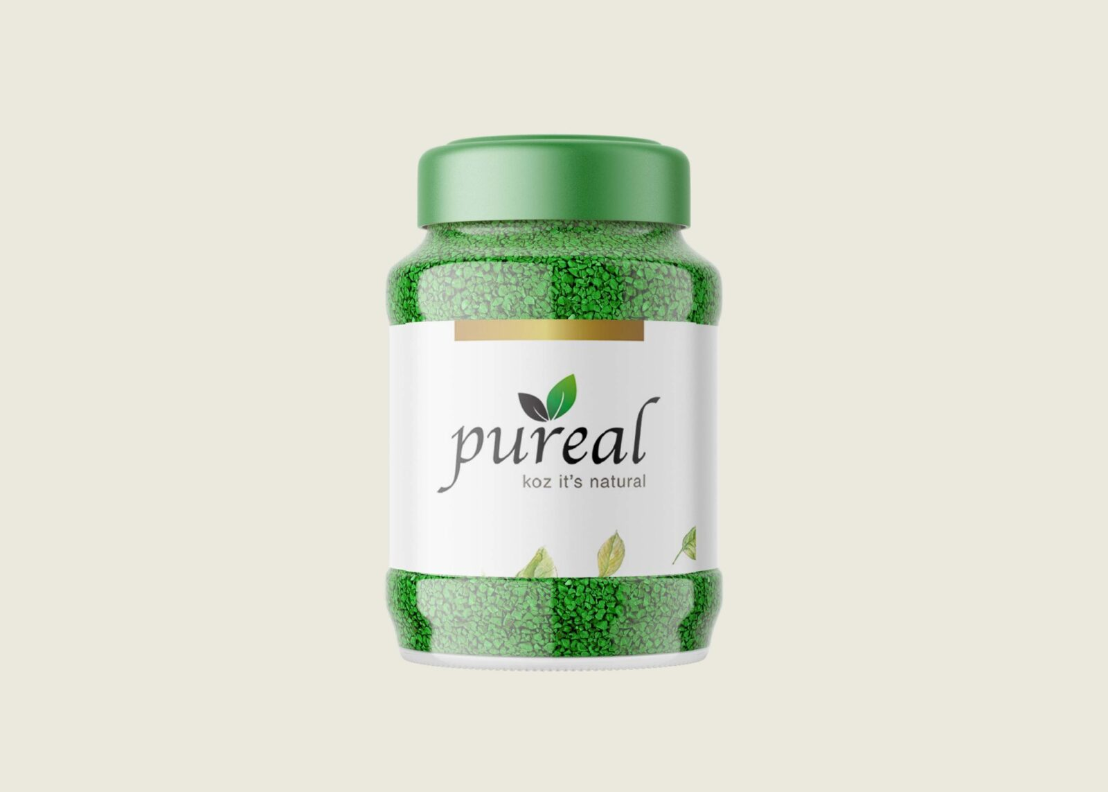 Pureal Green Tea Pea Beans Bottle Mockup